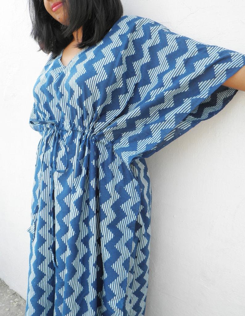 7527735d03706 Indigo Cotton Nursing Kaftan Kaftan Dress Mother's day | Etsy