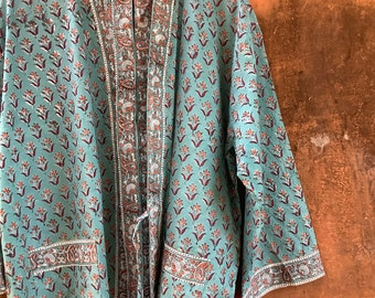 Teal Cotton Kimono Robes for Women Indian Dressing Gown Unisex Blockprint Beach Cover ups Bridesmaid Gifts