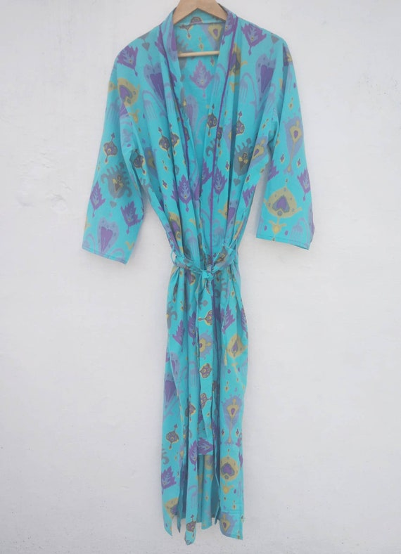 Buy Authentic deft design real deal Block print Robes Cotton Kimono Robe Kimono Robes Dressing Gown Women's  Cotton Robe Bridesmaid robe best gifts for her