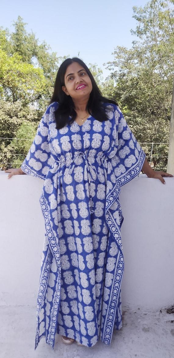 Women/'S Plus Size Top Tunic Knee Length Kaftan Maxi Dress Short V Neck Caftan