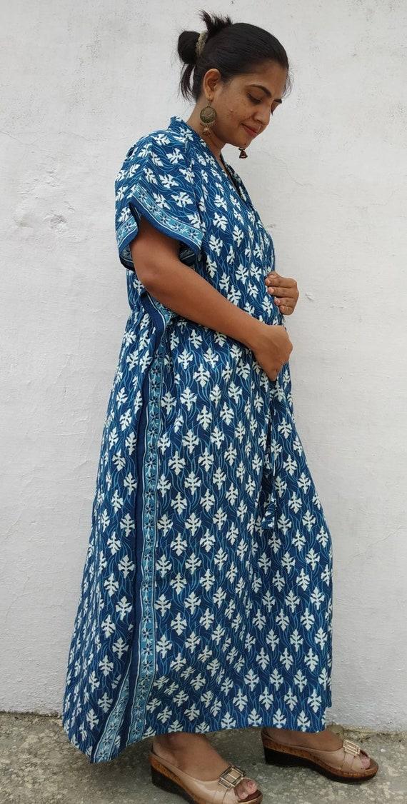 Hospital Gown Maternity Kaftan Robe Handblock Cotton Kaftan   Etsy