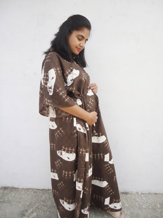 Maternity Robe Nursing kaftan plus size maternity cotton   Etsy