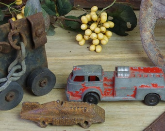 Vintage Fire Engine, Antique Toy Race Car, Train Tracks, Skate, Arrow, Steering Wheel, Collectible Toys, Metal Found Objects  #9-18