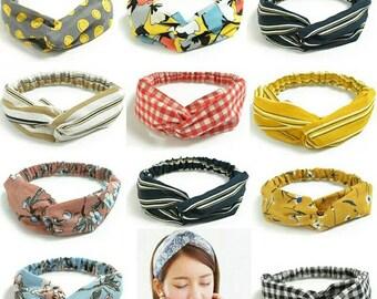 1 Hair Bands Print Headbands Retro Cross Turban Bandage Bandanas HairBands  Hair Head wrap for Women Girls 130ab91b696