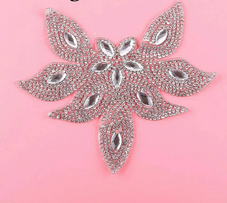 Rhinestone applique patch bling crystal iron-on clothes  22282976c3c2