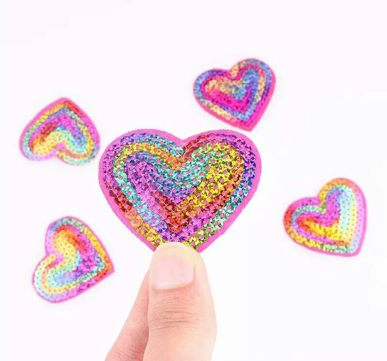 10 PCS Iron On Patches Embroidery Applique Transfers Pink Heart Badges DIY Craft