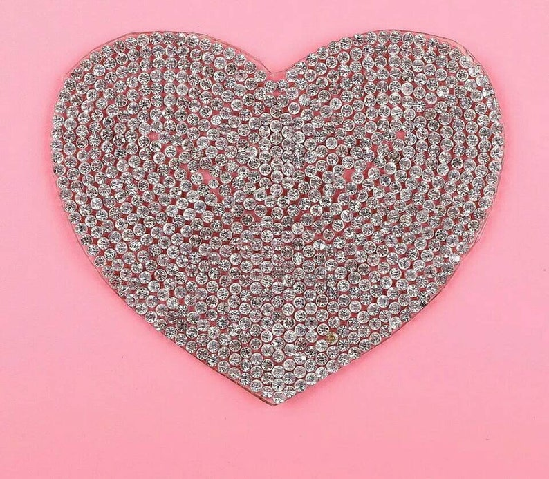 SEQUIN love heart iron on hotfix Sew on Applique Motif Patch