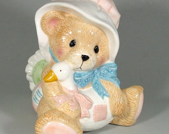 Cherished Teddies Ceramic Scrub Brush Holder, Enesco Corp., Teddy Bear, White Goose, Collectible, Kitchen, Spoon or Utensil Holder