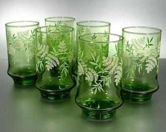 Libbey Green 12 oz. Tumblers, Fern Leaves, Set of (6) Vintage Drinking Glasses