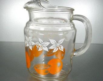 Federal Glass Vintage Juice/Beverage  Pitcher Oranges and Daffodils
