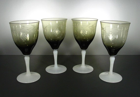 Water or Wine Goblets FOUR Vintage Smoke Colored Milk White Stems, Cut Grape Pattern