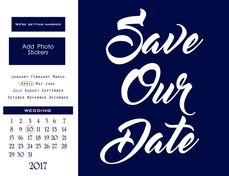 Save Our date printable 2017 Navy Instagram Picture, Printable and Editable  Wedding, mac or pc - INSTANT DOWNLOAD