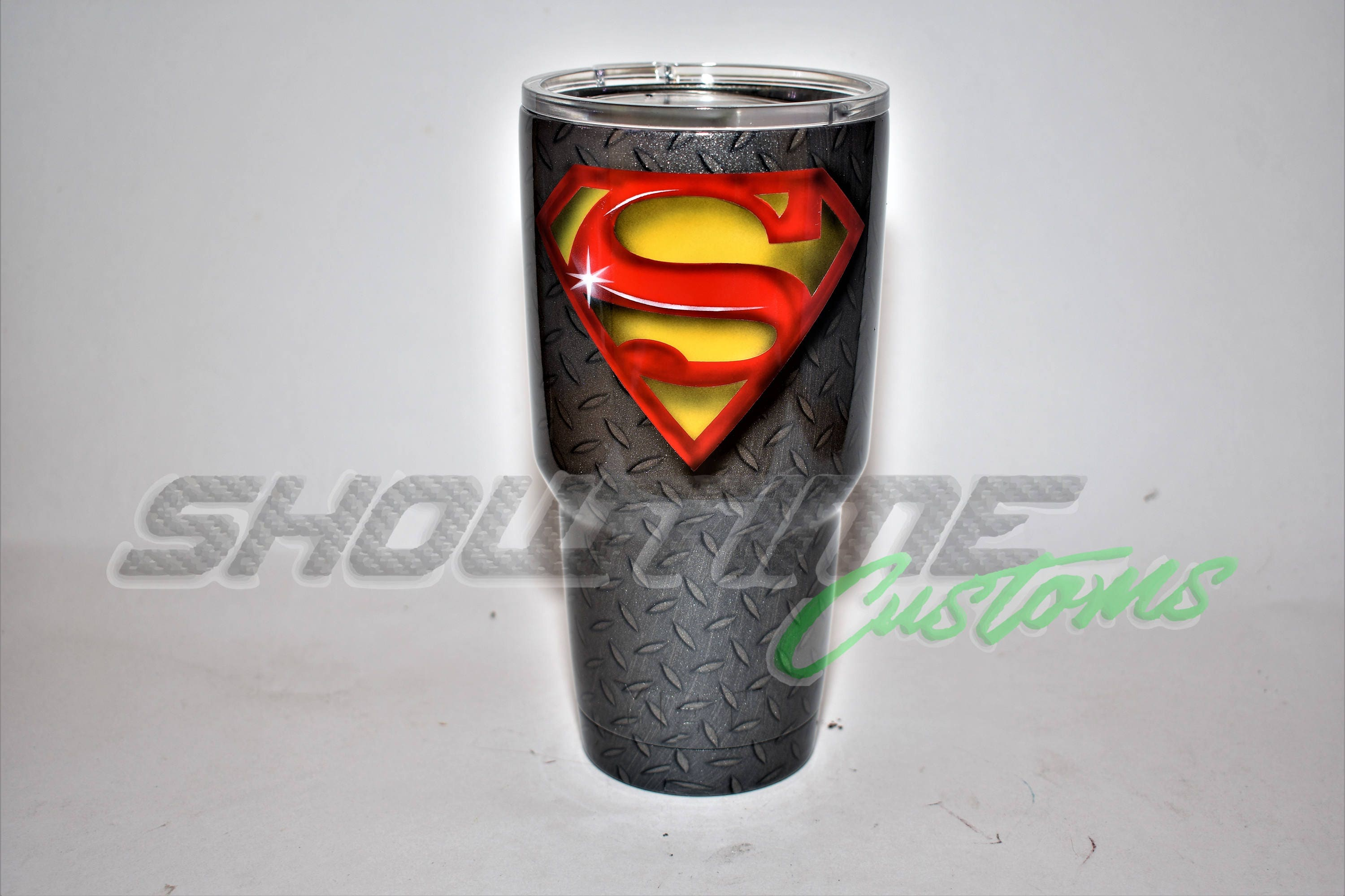 Custom airbrushed/hydrodipped Superman Ozark Tumbler Superman