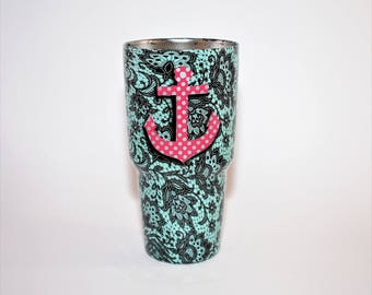 Custom Yeti Anchor in Robins Egg Blue tiffany anchor yeti custom yeti personalized yeti ozark yeti for her gifts tumblers mothers day gifts