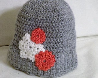 Girl's Winter Hat with Snowflake and Flowers