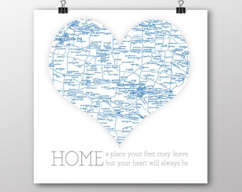 Hometown map Etsy