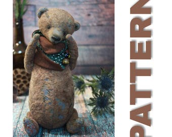 Artist teddy bear pattern 22 cm Soft toy pattern Download PDF pattern Stuffed bear vintage style toy
