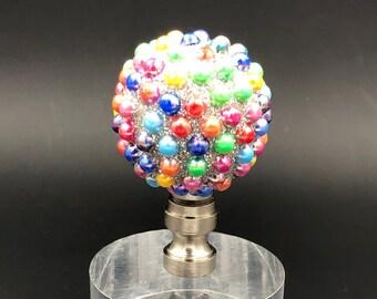 Custom Lamp FinialFeaturing a Horizontally Ribbed Bronze Sphere