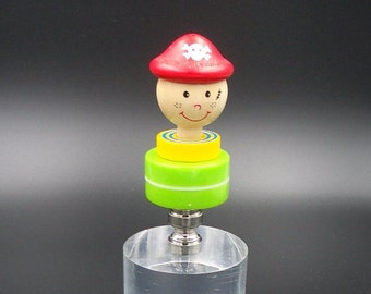 Custom Lamp Finial with a Happy Red Hatted Pirate