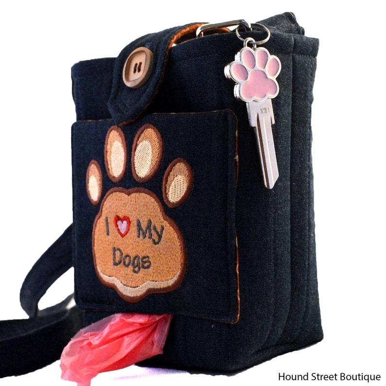 Dog mess bag poop bag holder Embroidered dog gift for wife dog walking bag Dog treat bag cross body bag gifts for dog lovers