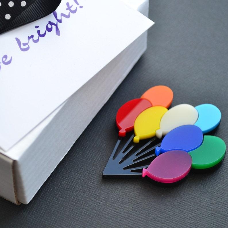 Large acrylic rainbow balloon brooch