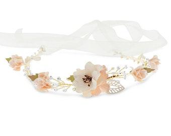 Bridal Hair Tie, Bridal Hair Accessories, Wedding Headpiece, Fabric Floral Tie, Peach Fabric Flowers Bridal Hair Tie with Crystals #129592