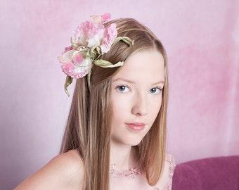 Silk Flower headband wedding silk flowers  Bridal Fascinator hat Flower Girl hair accessory flower accessories fabric flowers gift for her