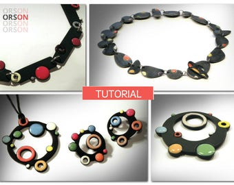 Orsons Faux Enamel Shabby Chic necklace & Cutter Beads pin Polymer clay Tutorial Ebook Instructions