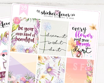 Purple Floral Mini Kit - Standard Vertical Planner Stickers for Recollections, Plum Planner, Happy Planner... (#39 & 40)