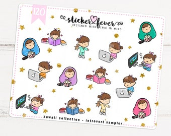 Introvert Gemma SAMPLER Kawaii Chibi Character Planner Stickers for Recollections, Happy Planner, Passion Planner, Plum Planner... (#120)