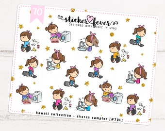 Chores Gemma SAMPLER Kawaii Chibi Character Planner Stickers for Recollections, Happy Planner, Passion Planner, Plum Planner... (#70)