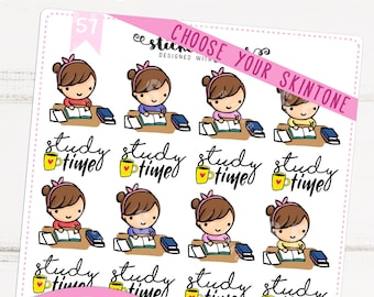 Study Time Kawaii Chibi Character Planner Stickers for Recollections, Happy Planner, Passion Planner, Plum Planner... (#57)