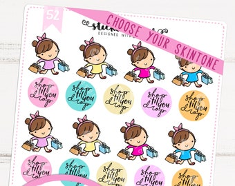 Shopping Time Kawaii Chibi Character Planner Stickers for Recollections, Happy Planner, Passion Planner, Plum Planner... (#52)