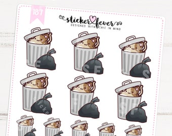 Caramel the Cat Take out the Trash Planner Stickers for Recollections, Happy Planner, Passion Planner, Plum Planner... (#187)