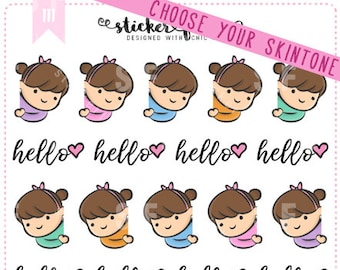 Peeking Gemma Kawaii Chibi Character Planner Stickers for Recollections, Happy Planner, Passion Planner, Plum Planner... (#111)