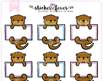 Text Boxes Olivia the Otter Planner Stickers for Erin Condren, Happy Planner, Passion Planner, Plum Planner... (#99)