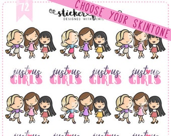 Girls' Night Kawaii Chibi Character Planner Stickers for Recollections, Happy Planner, Passion Planner, Plum Planner... (#72)