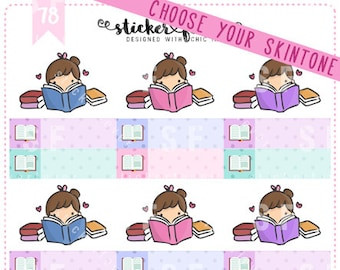Bookworm Kawaii Chibi Character Planner Stickers for Recollections, Happy Planner, Passion Planner, Plum Planner... (#78)