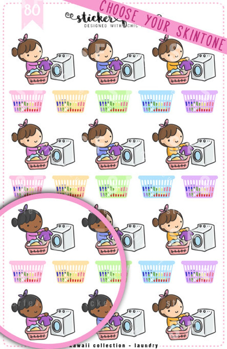 Laundry Time Kawaii Chibi Character Planner Stickers for image 0