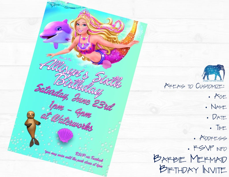 Mermaid Barbie Birthday Invitation