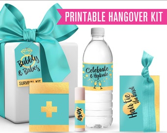 Printable Tiffany Blue & Gold Bachelorette Survival Kit // Hangover Kit // Bachelorette Favor // Girls Night Out // Bachelorette Party