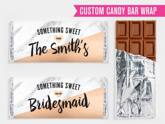 Custom Rose Gold Marble Candy Bar Wrapper Wedding Favor Party