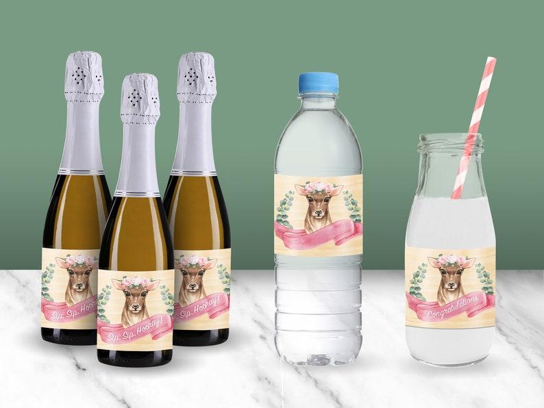 Rustic Woodland Doe Deer Printable Bottle Wraps // Mini image 0