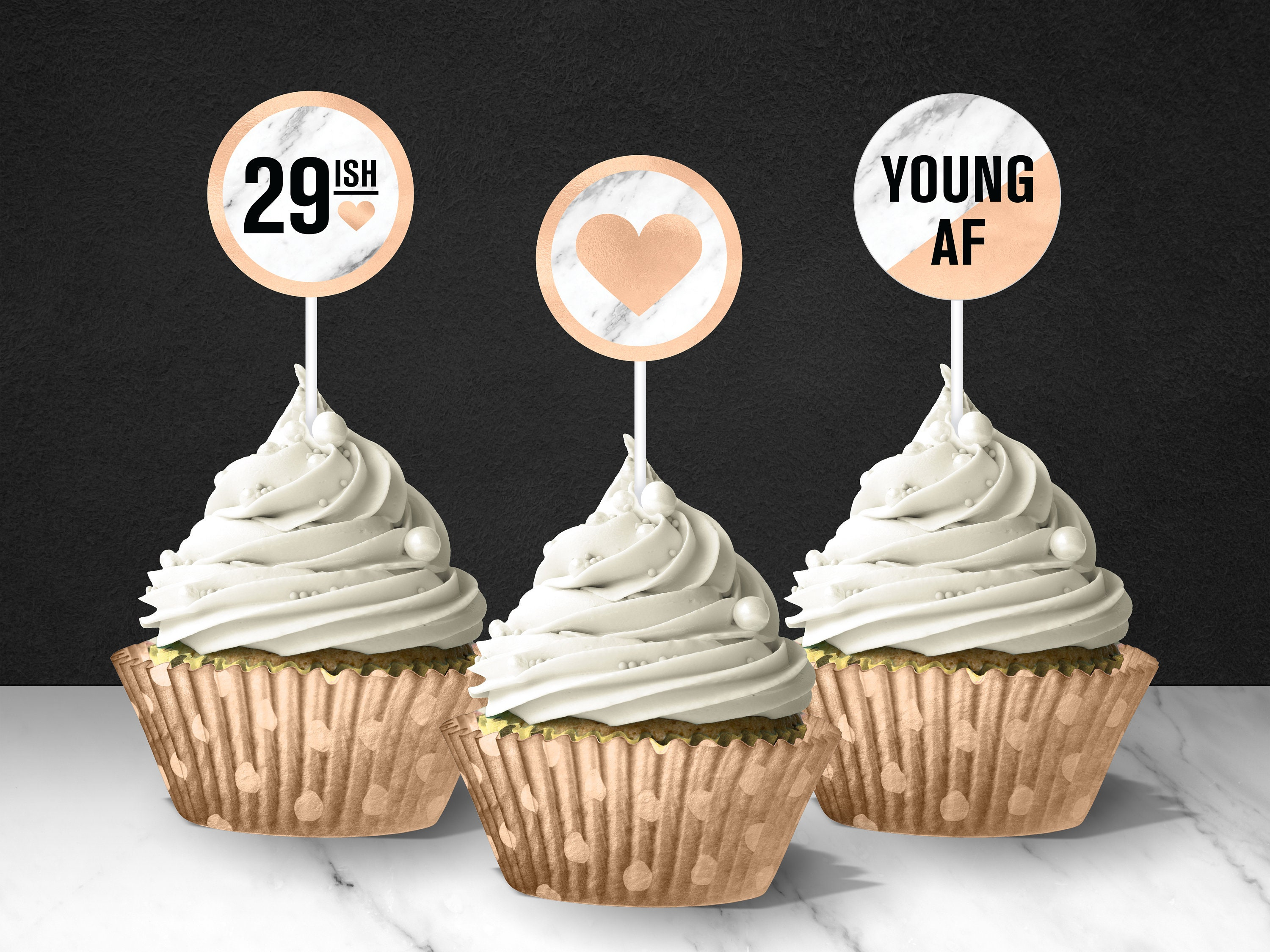 graphic about Printable Cupcake Toppers titled Rose Gold 30th Birthday Printable Cupcake Toppers // Printable Rose Gold Toppers // 30th Birthday Celebration Decor // More youthful AF Occasion Decor
