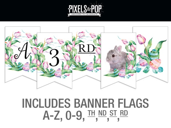 photograph regarding Easter Banner Printable named Personalized Easter Banner A-Z // Easter Get together Banner // Printable