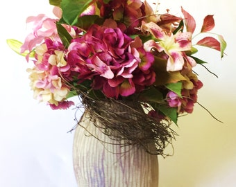 Silk flower marsala etsy burgundy hydrangea silk flower arrangement marsala faux lily artificial pink and oriental lilies contemporary silk design faux florals mightylinksfo