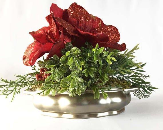 Christmas amaryllis silk flower arrangement christmas etsy image 0 mightylinksfo