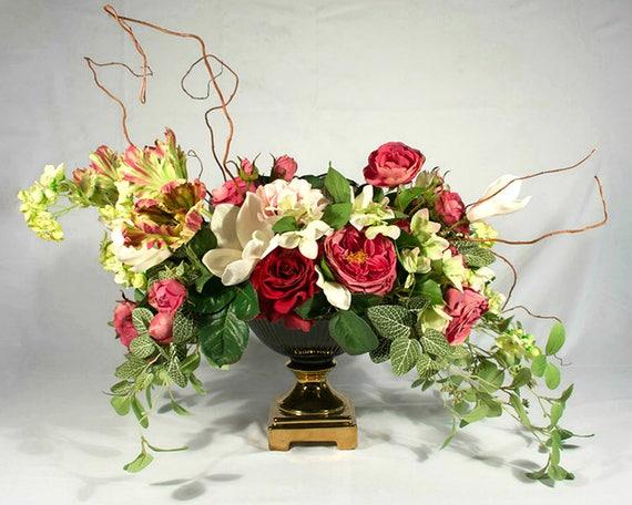 Bespoke Silk Flower Arrangement Contemporary Floral Etsy