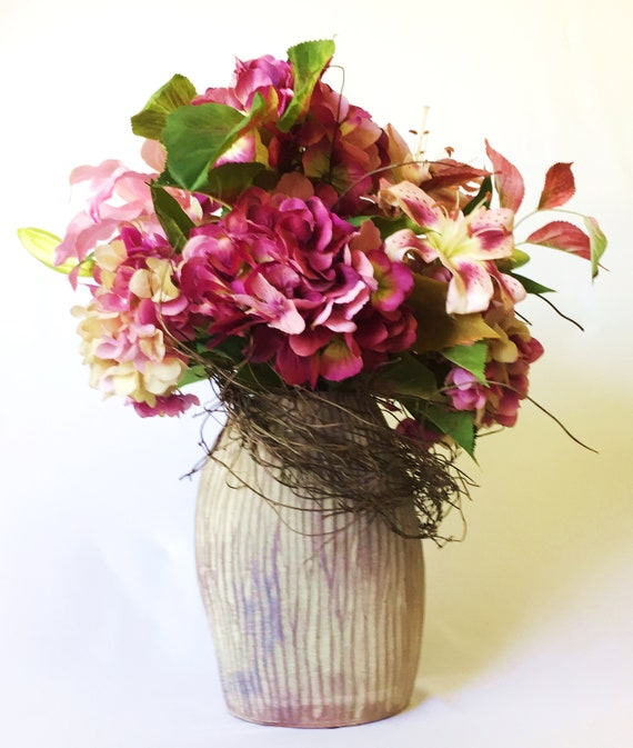 Burgundy Hydrangea Silk Flower Arrangement Marsala Faux Etsy