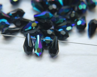 Crystal AB Matte Frosted Tiny Spiky Drops 14x9mm One Loop 6 Pcs